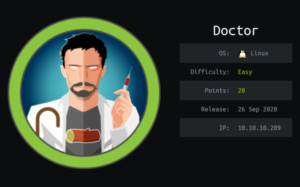 Doctor hackthebox walkthrough